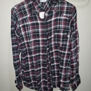 Womens flannel with shoulder bling